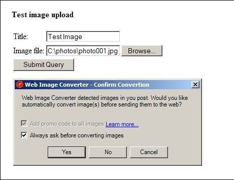 Free Image Converter confirmation dialog